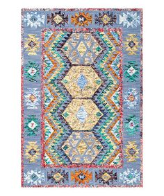 Love this Blue & Yellow Geometric Paola Wool Rug on #zulily! #zulilyfinds
