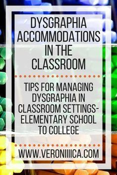 Dysgraphia accommodations in the classroom. Tips for managing dysgraphia in classroom settings, from elementary school to college Dyslexia Teaching, Co Teaching, Teaching Resources, Dyslexia Activities, Teaching Writing, Teaching Ideas, Dyslexia Strategies, Accommodation For Students, Inclusion Classroom