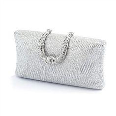 Handbags and Bags 163551  Silver Glitter Fabric Rhinestone Bridal Prom Evening  Handbag Wedding Purse - 709ae67712f2e
