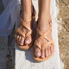 Summer Ankle Strap Buckle Flat Sandals-Style 1 / US size Low Heel Sandals, Greek Sandals, Strappy Sandals, Flat Sandals, Leather Sandals, Women Sandals, Shoes Women, High Heels, Sandals Outfit