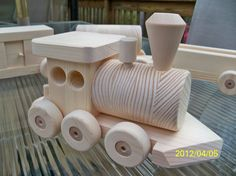 Train Set Pine Wooden toys 6 Car All Natural Pine 5 от mikebtoys