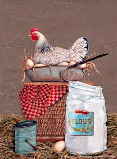Decoupage Creative workshop of Tatyana Kuksenko. Decoupage Vintage, Decoupage Paper, Vintage Crafts, Vintage Paper, Chicken Painting, Chicken Art, Fried Chicken, Vintage Labels, Vintage Posters