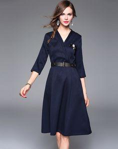 #AdoreWe #VIPme A-Line Dresses - Qeexi Jacquard V-Neck Belted 3/4 Sleeve Midi Dress - AdoreWe.com