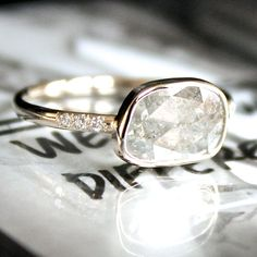 Samantha McIntosh -- Diamond Ring- Rose Cut Diamond Slice in 14K Gold- Engagement Ring.