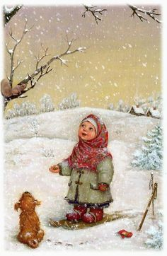 Christmas Greeting Cards by Lyda Studio, Russia. Christmas Past, Christmas Pictures, Winter Christmas, Christmas Crafts, Winter Snow, Illustration Noel, Winter Illustration, Christmas Illustration, Vintage Christmas Cards