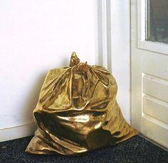 brass trash bag l The Golden Age of Trash Gold Everything, Handsome Jack, Gold Aesthetic, Quirky Art, Trash Bag, Stay Gold, Arte Pop, Bling, Gold Glitter