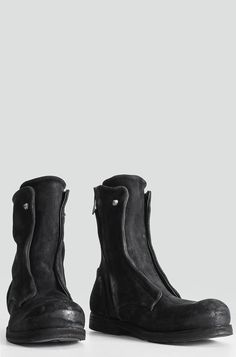 Visions of the Future: Preach - Reversed calf leather side zip boots