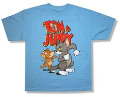 "TOM & JERRY ""RED LOGO"" BLUE KIDS T-SHIRT NEW OFFICIAL CARTOON YOUTH X-LARGE YXL"