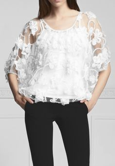 Anne fontaine soy eur louse with flounced neckline, folded bias n puff effect Beautiful Blouses, Cool Style, Neckline, Product Description, Awesome, Lace, Floral, Fun, Tops