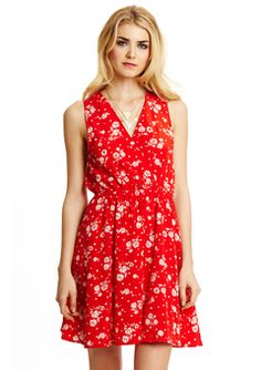 Red Sleeveless V-Neck Floral Dress with Elastic Waist by Everly