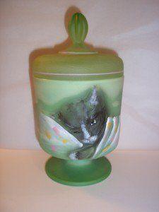Fenton Glass CHAMELEON Green TABBY Chessie CAT Box Jar #8/28 Ltd Ed Event Piece!