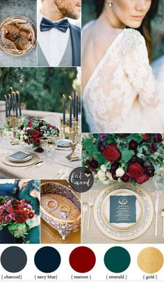 Romantic autumn wedding { Charcoal,navy blue ,maroon and emerald colour schemes }