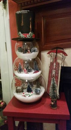 This is super cute! Put little Christmas Village things in them =]