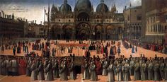 BELLINI, Gentile Procession in Piazza San Marco 1496 Tempera and oil on canvas, 367 x 745 cm Gallerie dell'Accademia, Venice Piazza San Marco, Republic Of Venice, National Gallery, Late Middle Ages, Medieval World, Renaissance Paintings, Renaissance Artists, Italian Renaissance, Oil Painting Reproductions