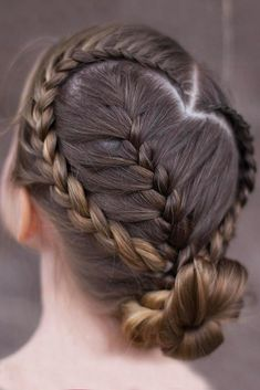 Rope Twisted Heart ❤️ We all know that over time, your kiddo gets bored with those ponytails and braids she wears every day. Let us respect her sense of fashion and vary her styling routine. See our picture gallery. ❤️ See more: http://lovehairstyles.com/cute-girls-hairstyles/ #lovehairstyles #hair #hairstyles #haircuts  #braids #braidedhairstyles