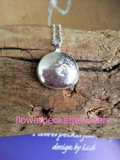 Pebble Pendant Recycled Sterling Silver Stone by flowerpecker