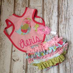 Pink Green Aqua Baby Girls Bib Bloomers and by Polkadotologie, $8.00