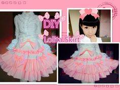 Kawaii DIY - How to Make A Sweet Lolita Skirt (no elastic band and zipper method) - YouTube