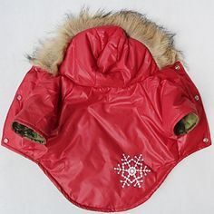 Cat / Dog Coat / Hoodie Red Dog Clothes Winter Snowflake Cosplay - EUR € 13.71