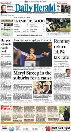 Daily Herald front page, Sept. 22, 2012