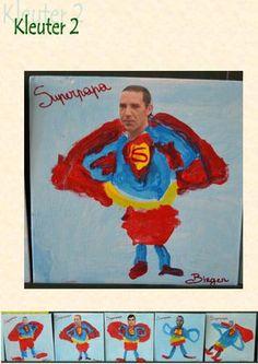 een foto van de papa laten meebrengen en een prent van superman dan de kindjes de prent laten inkleuren voor vaderdag