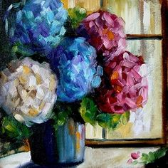 Kitchen Counter Collections 4, Hydrangea Flowers by Texas Artist Laurie Pace -- Laurie Justus Pace