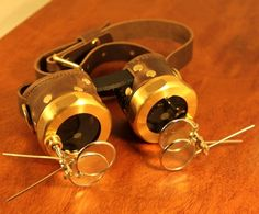 Steampunk Goggles brown leather and brass with magnifiers on both sides