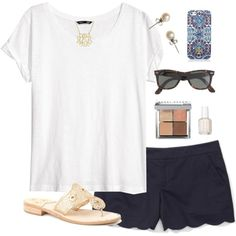A fashion look from March 2014 featuring H&M t-shirts, Club Monaco shorts and Jack Rogers sandals. Browse and shop related looks.