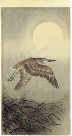 ohara koson egret flying under the moon