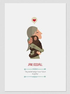 Illustration. Jane Goodall. Print. Wall art. by Tutticonfetti