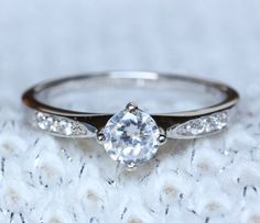 Solid Sterling Silver Solitaire engagement ring by TheAladdinsCave