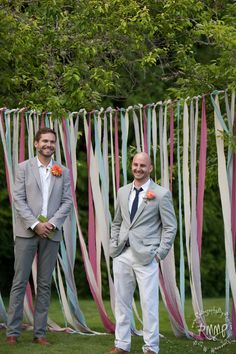 DIY Wedding Backdrop - use ribbons from table runners to make a photo booth