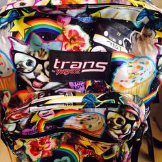 NWT Trans Jansport Supermax Multi Hairball Backpack Laptop Cat Dog Glasses Tape #JanSport #Backpack
