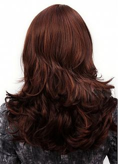 Fabulous Capless Brownish Red Long Wavy High Quality Synthetic Hair Wig