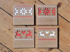 Set of 4 Fair Isle style Merry Christmas cards  £10.00