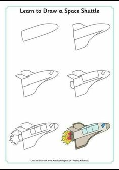 Every Star Is Different: Air Travel Activities & Printables (KLP Linky) Drawing Lessons For Kids, Drawing Tutorials For Kids, Art Lessons, Space Drawings, Easy Drawings, Directed Drawing, Space Shuttle, Step By Step Drawing, Teaching Art