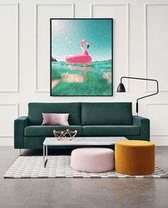 COECLECTIC - Large hand painted artwork on canvas - Flamingo