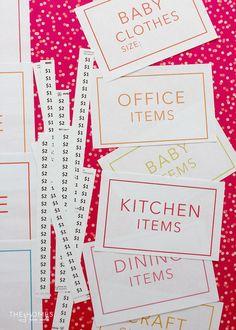 The Ultimate Garage Sale Prep Kit (a FREE printable!) | The Homes ...