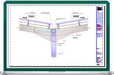 Set of details from the steel library to complete a double span hangar portal frame design. Steel Columns, Steel Beams, Footing Foundation, Roof Eaves, Garage Workshop, Steel Structure, Civil Engineering, Metal Roof, Portal