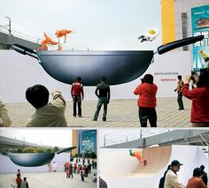 Non-stick pans // Advertising Agency: Leo Burnett, Shanghai, China // Results: A rise in sales of 20% in the selected Shanghai malls.   #ambient #creative #guerillamarketing #guerilla #ambientmedia <<< found on www.adsoftheworld.com pinned by www.BlickeDeeler.de   Follow us on www.facebook.com/BlickeDeeler