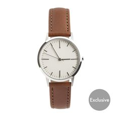 EXCLUSIVE - ONLY AVAILABLE FROM OUR WEBSITE Silver polished & brushed case. Tan Italian leather strap. Free Worldwide delivery, when you use the code FREEDOM at checkout in December only.