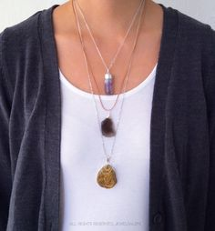 Layered Necklace Modern Jewelry Gift Amethyst Purple Black Wire Wrapped Chalcedony Gold Druzy Silver Necklace Rustic Boho Chic Bohemian C1