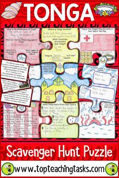 Your students will enjoy the study of Tonga with our interactive scavenger hunt and puzzle pack. Learn about the geography, history, language, and culture of the Pacific nation of Tonga. Great for Tongan Language Week - 2 September to 8 September 2018 as a social studies product, and in your guided reading program! This helps with differentiated learning. Features summarising, visualising, cloze reading and finding specific details. Suitable for Year Four, Year Five, Year Six.
