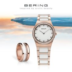 Rosé gold and white; Ladies style; Watch and matching ring combination; Arctic Symphony Collection; Ceramic Collection; BERING