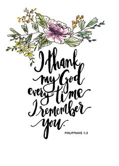Philippians 1:3 Hand Lettered and Watercolor Art by AprylMade