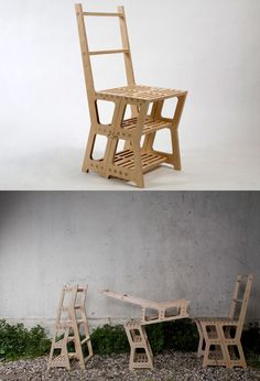 A multifunctional ladder and occasional chair. Designer J.Schotte created this simple, but elegant library piece for groupDesign.Multifunctional piece of furniture designed as an elegant space-saving solution for the modern living space.An occasional chair in its resting state, the Library Chair folds into a step ladder when needed.CNC-machined and hand finished from FSC B/B grade birch ply. Design J.Schotte 2009.