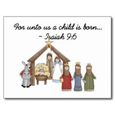 Christ is born cute christmas card christian christmas card for unto us a child is born isaiah post card see more religious christmas african american cards m4hsunfo Gallery
