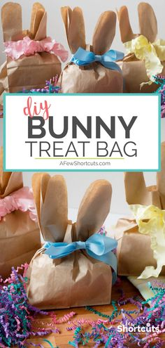 Giving a fun spring gift has never been so easy! These DIY Paper Bag Bunny Treat Bags are not only simple to make but affordable too! #crafts #easter #diy