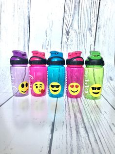 Personalized Emoji Water Bottle Personalized Emoji Cup Personalized Emoji, Valentine Gifts For Kids, Ring Bearer Gifts, Smiley Emoji, Personalized Water Bottles, Choices, Etsy, Names, Plastic