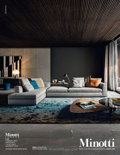 Interior by Minotti.LOVE Minotti furniture, especially the coffee table on wheels! Could this go IN FRONT of the fireplace? Contemporary Interior, Modern Interior Design, Interior Design Inspiration, Room Inspiration, Interior Architecture, Design Ideas, Living Room Interior, Living Room Decor, Living Room Designs